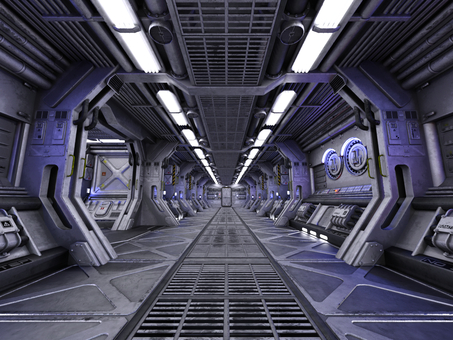 明るい宇宙船内の通路