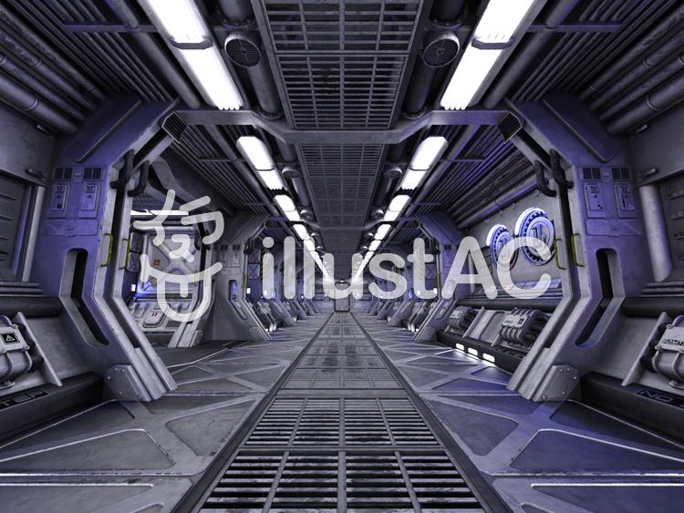 明るい宇宙船内の通路のイラスト