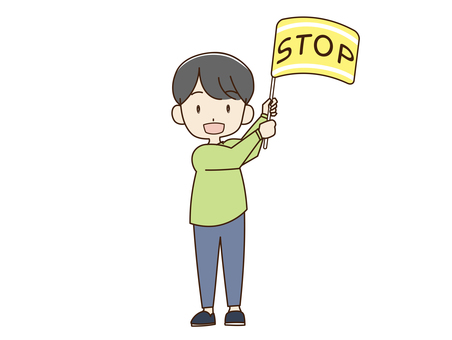 Stop flag waving male