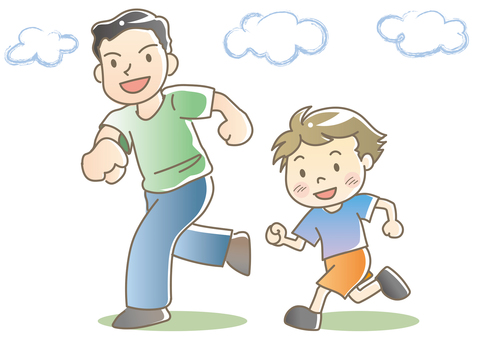 Parent and child running