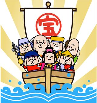 Seven Lucky God's treasure ship