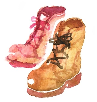 Watercolor style boots
