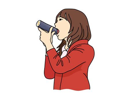 一個女人吃Ehumaki