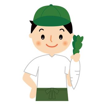 Greengrocer, upper body, illustration