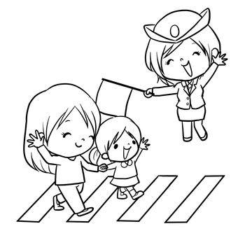 Traffic safety police crosswalk guidance line drawing coloring
