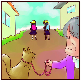 Walking with my grandmother and a dog