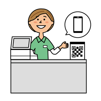 Cashier clerk with smartphone payment