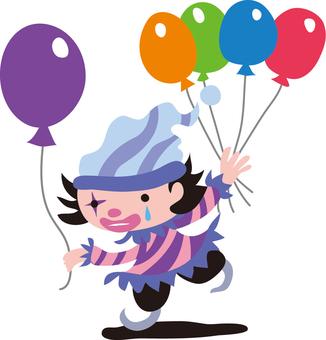 Clown handing over balloons