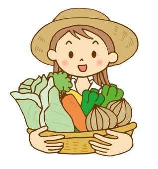 A woman holding a vegetable basket