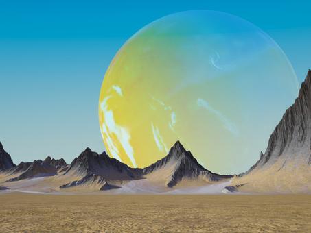 青空に溶け込む黄色い惑星