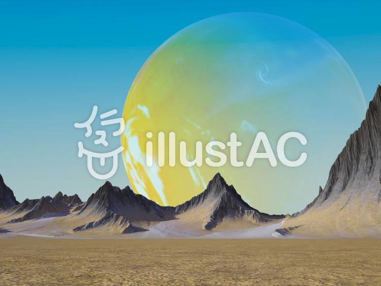 青空に溶け込む黄色い惑星のイラスト