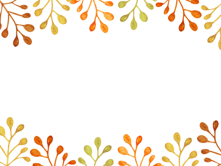 Water color hand-drawn autumn color nut frame
