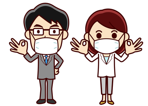 Men and women illustration _ mask _ OK