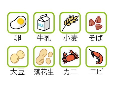 過敏食物顯示圖標