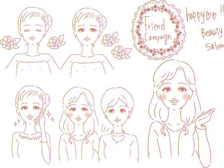 Beauty salon line art women