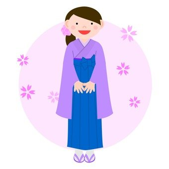 A woman in a hakama (purple)