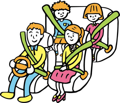 Family parent and child seat belt brush pen painting