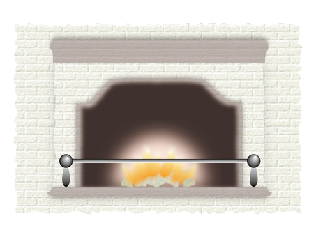 Fireplace wood stove illustration