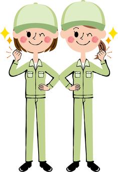 Guts pose worker female hat green wink whole body