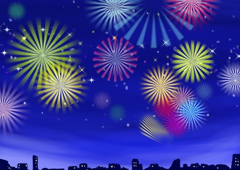 A lot of fireworks in the night sky