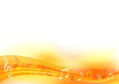 オレンジ色のウェーブ音符の背景フレーム枠