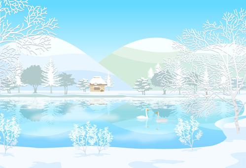Winter scenes Snowy mountain lake illustration