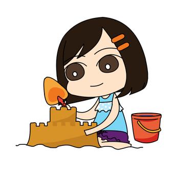모래 장난을하는 여자 01