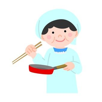 A woman cooking in a frying pan
