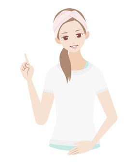 Skin care female pointing pose