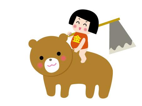 Kintaro and a bear