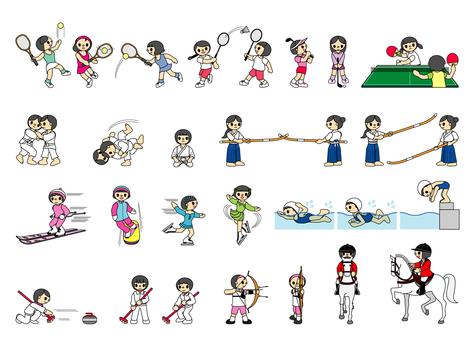 Sports gathering icons 2 girls