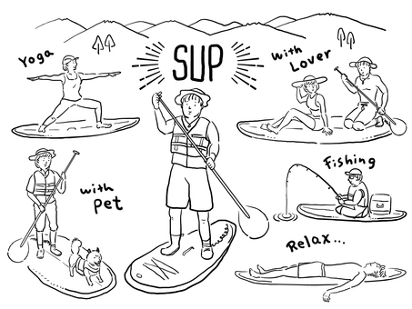 Illustration of a stand-up paddle boat