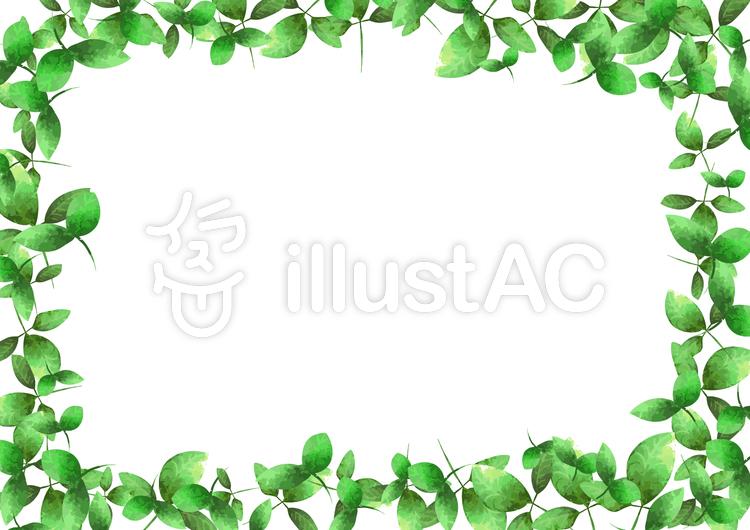水彩 葉 四方 フレームのイラスト