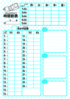 Monthly schedule table (30 days)
