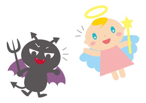 Angel and devil cute illustration