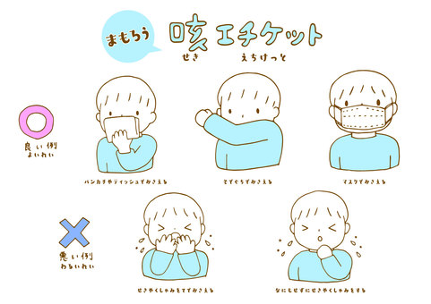 Illustration set of cough etiquette