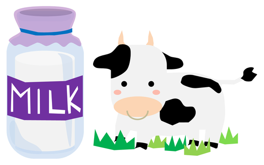 Cow and milk