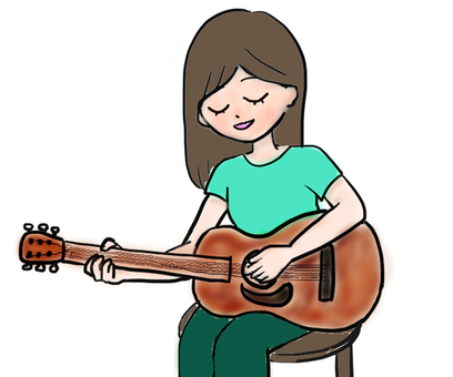Guitar playing woman illustration