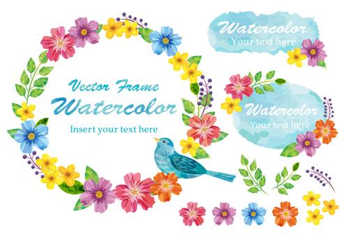水彩植物的框架