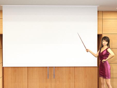 스크린을 가리키는 여성 프리젠 테이션