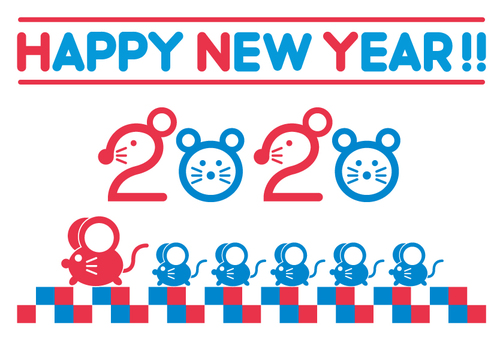 New Year's card 2020 mouse _ tricolor color