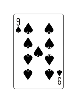 9 of playing card spades
