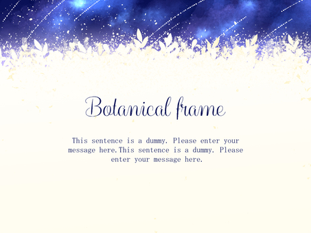 Night sky and plant watercolor frame / blue b