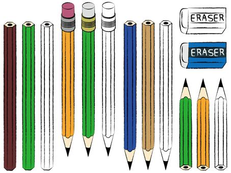 Pencil & Eraser Line Art Color Set Material