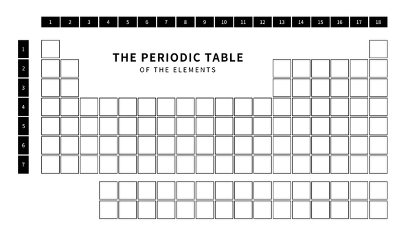 Periodic table of elements for black and white writing