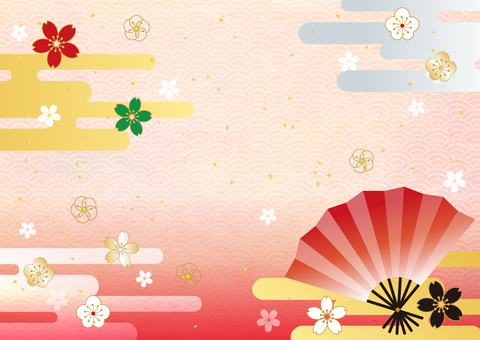 New Year _ and handle _ and paper _ 桜 _ background