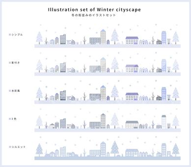 Winter cityscape illustration set