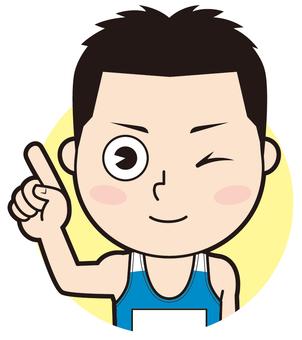 Fingering male athlete (wink)