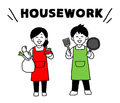 Men and women doing housework (simple)