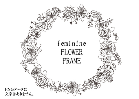 Fashionable hand-drawn floral wreath frame